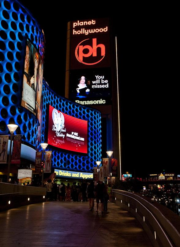 Michael Jackson on marquee at Planet Hollywood