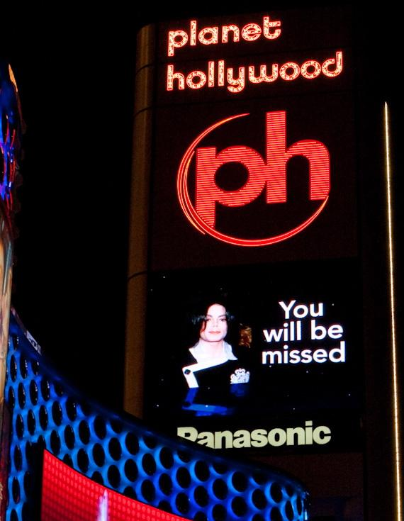 Michael Jackson on marquee of Planet Hollywood