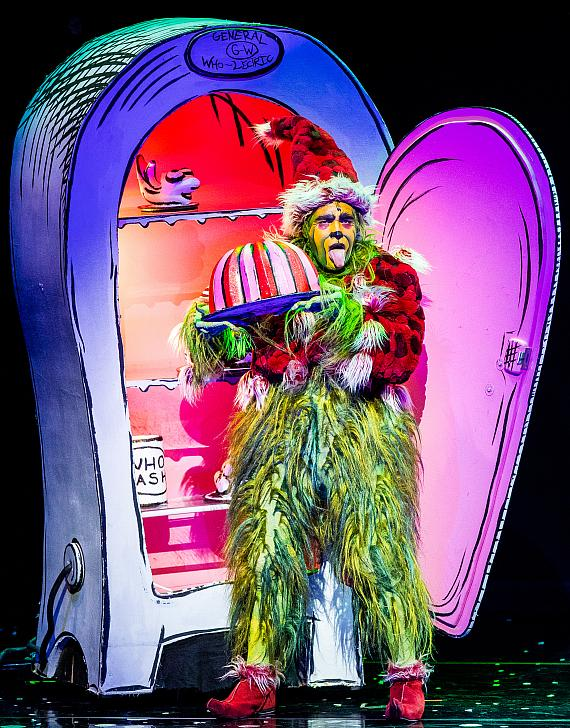 """Philip Huffman as The Grinch in the 2016 Touring Company of Dr. Seuss' """"How The Grinch Stole Christmas!"""" The Musical"""