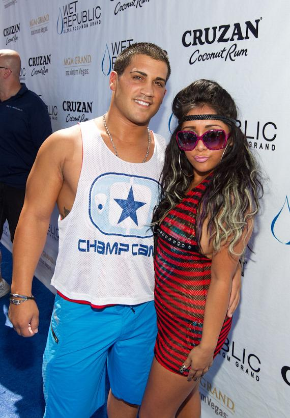 "Jionni LaValle and Nicole ""Snooki"" Polizzi of Jersey Shore at Wet Republic"
