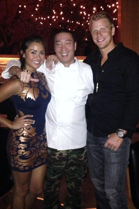 Chef Akira (C) with Catherine Guidici and Sean Lowe