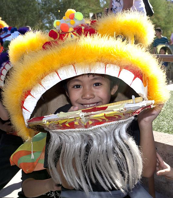 Asian fan craft and face painting for the kids