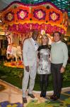 Preston Bailey, Andrea Wynn and Steve Wynn pose in front of Hot Air Balloon