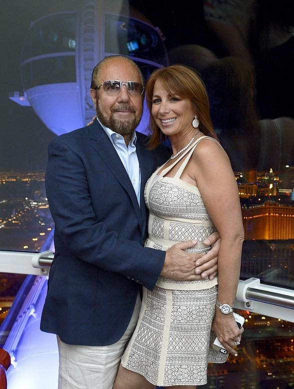 elevision personalities Bobby Zarin (L) and his wife Jill Zarin ride the world's tallest observation wheel, The High Roller at The LINQ