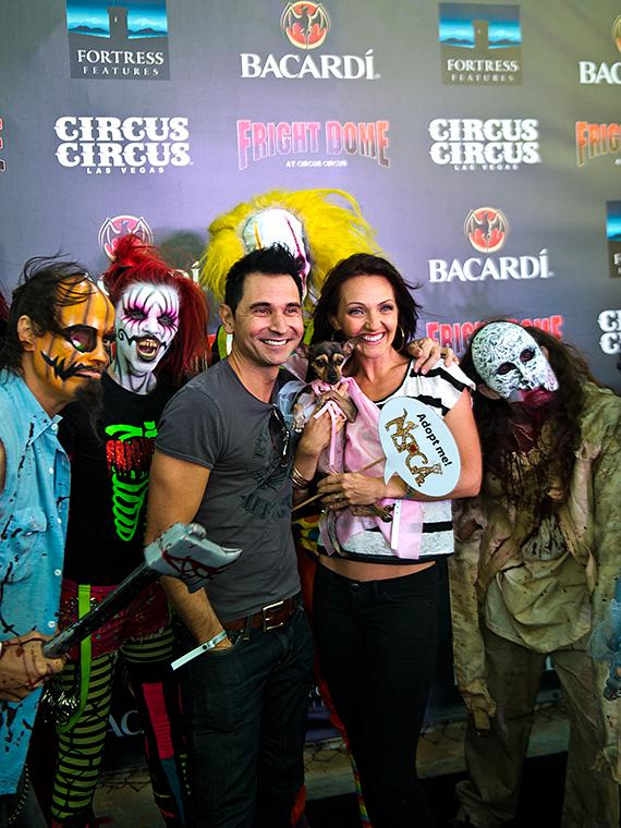 Jersey Boys star Travis Cloer and wife at Fright Dome in Las Vegas