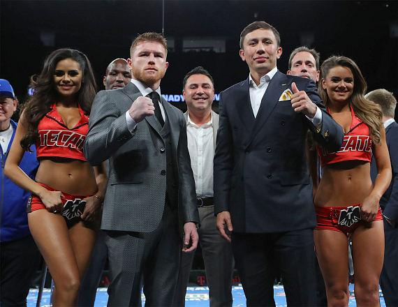 "Canelo Alvarez and Gennady ""GGG"" Golovkin face off at post-press conference after September 16 showdown announcement"