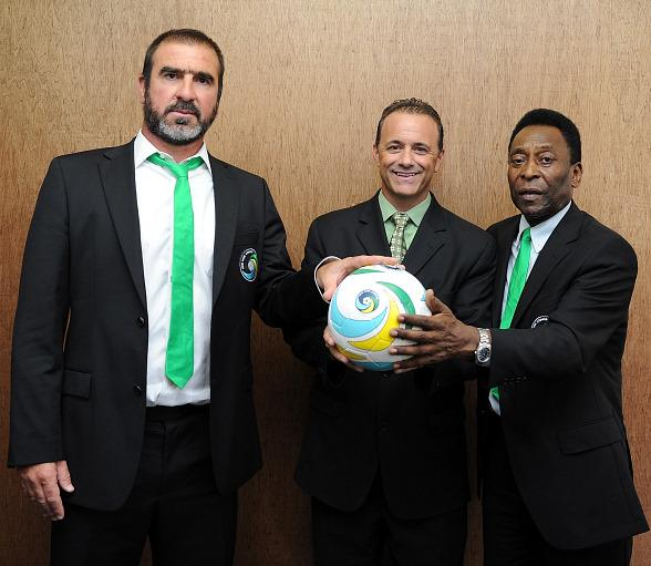 Director of Soccer Eric Cantona, Justice Entertainment Group President and COO Daren Libonati, New York Cosmos Honorary President Pele