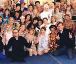 Steve Buscemi and Steve Carell with cast of The Beatles LOVE by Cirque du Soleil
