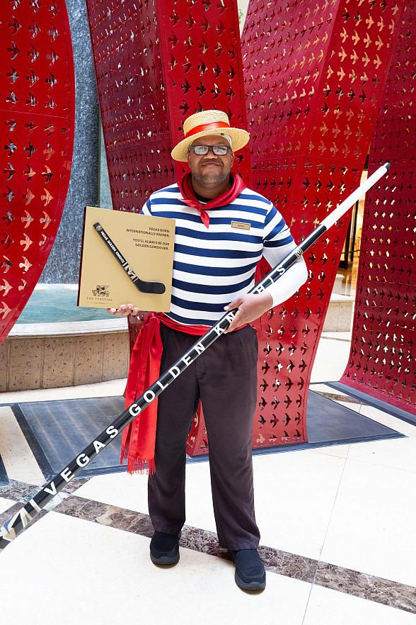 """Vegas Golden Knights Anthem Singer Carnell """"Golden Pipes"""" Johnson Honored by The Venetian and The Palazzo with Plaque and Gondola Oar Shaped Hockey Stick"""