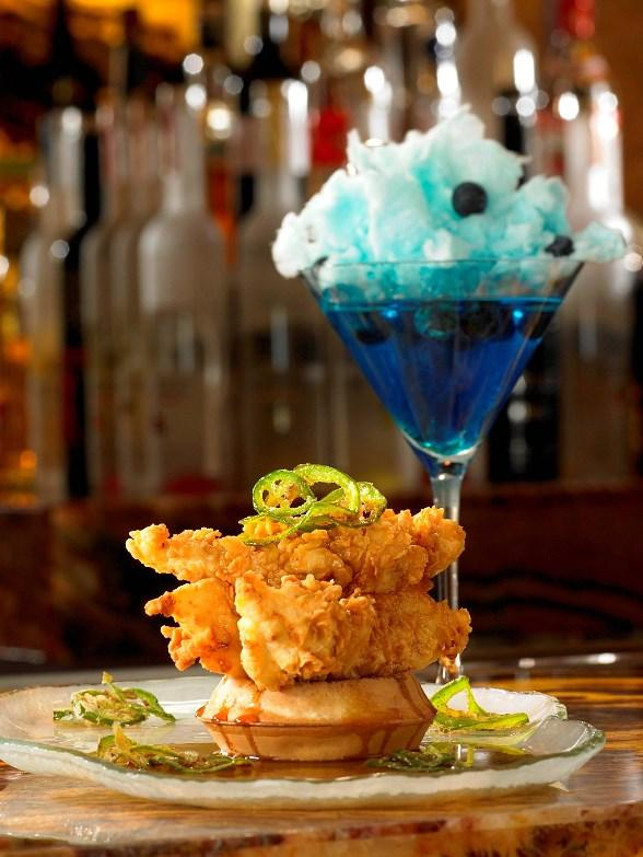 Chicken and Waffles paired with Cotton Candy Martini