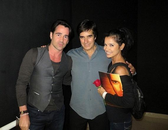 Colin Farrell and his sister, Claudine with David Copperfield