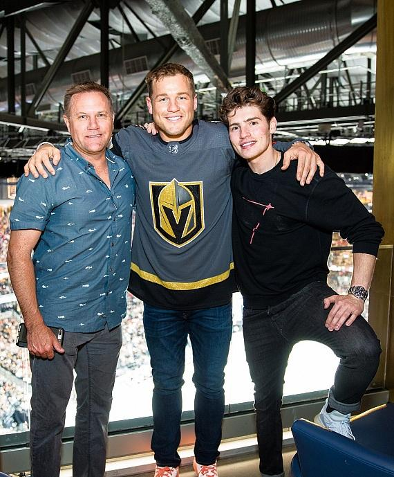 Colton Underwood and Gregg Sulkin and Family at Hyde Lounge at T-Mobile Arena