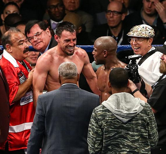 Robert Guerrero and Floyd Mayweather Jr. after the fight