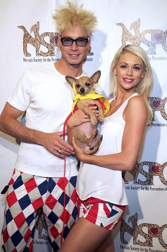 Murray SawChuck and  Chloe Louise Crawford with puppy at Nevada SPCA Celebrity Bowling Tournament