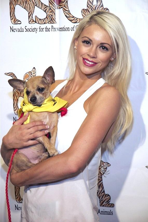 Chloe Louise Crawford with puppy at Nevada SPCA Celebrity Bowling Tournament