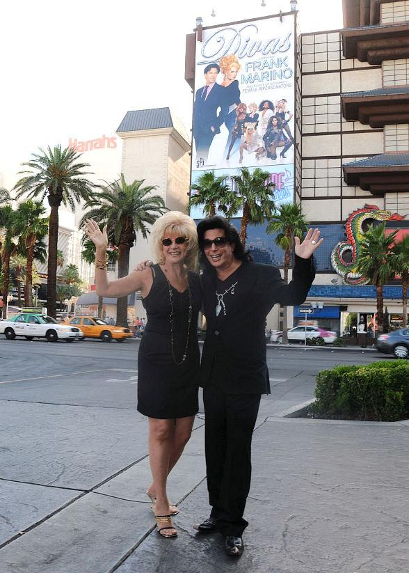 Frank Marino with his mother, Mary Mastrangelo, in front of his first ever building wrap on the Las Vegas Strip at Imperial Palace Hotel & Casino