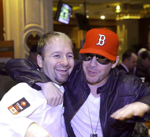 Daniel Negreanu and Donnie Wahlberg after Donnie knocked Daniel out of the tourney