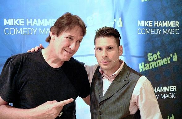 """""""Texas Chainsaw Massacre"""" actor Edwin Neal visits """"The Mike Hammer Comedy and Magic Show"""" at Four Queens Hotel & Casino in Las Vegas"""