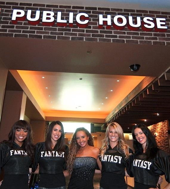 Fantasy ladies pose inside Public House Las Vegas