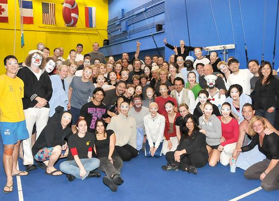 """Gary Oldman and the cast and crew of """"O"""" by Cirque du Soleil"""
