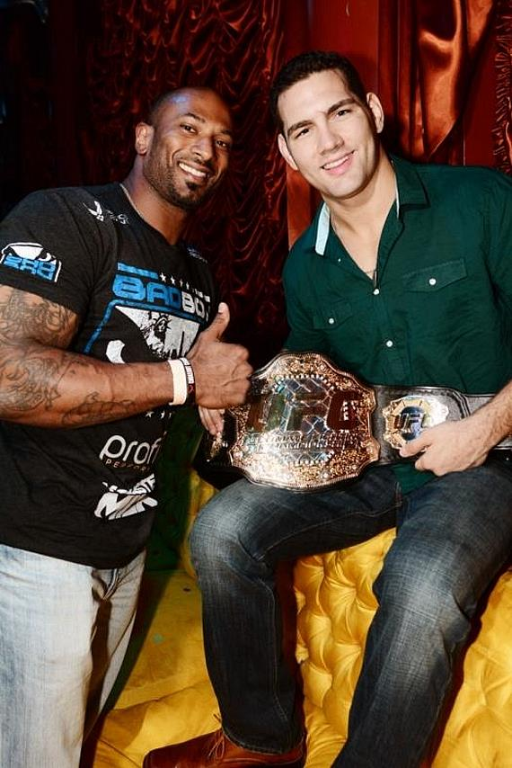 Miami Heat's Udonis Haslem with Chris Weidman at Surrender Nightclub