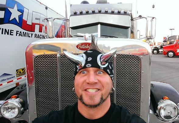 Horny Mike in NASCAR hauler parade