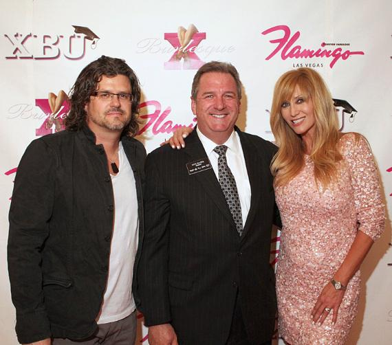 Matt and Angela Stabile, co-producers of X Burlesque, with Rick Mazer, Regional President of Harrah's, Imperial Palace, Flamingo, O'Sheas and Bill's Gamblin' Hall & Saloon, taken at the show's fourth anniversary party on April 7, 2011