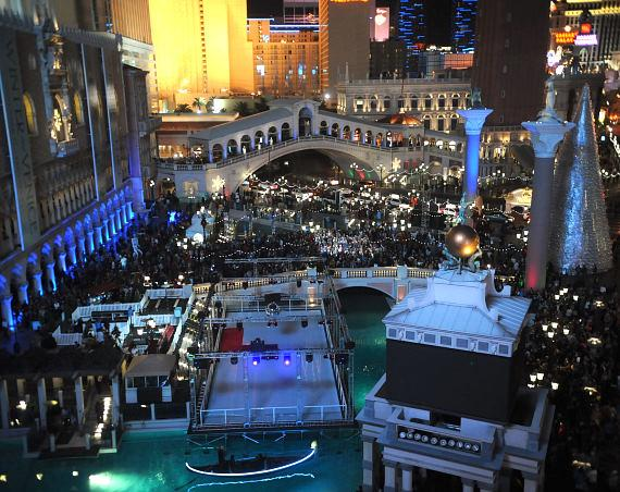 Crowds fill the front plaza of The Venetian for Winter in Venice