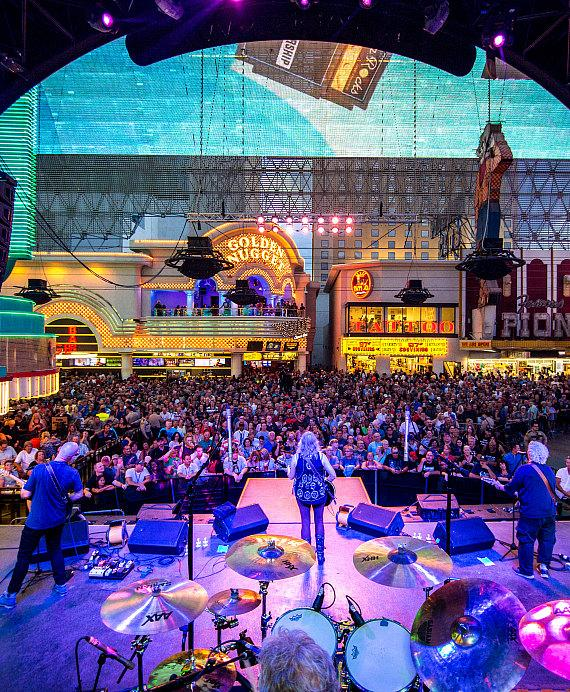 Jefferson Starship performs during Downtown Rocks on Fremont Street Experience