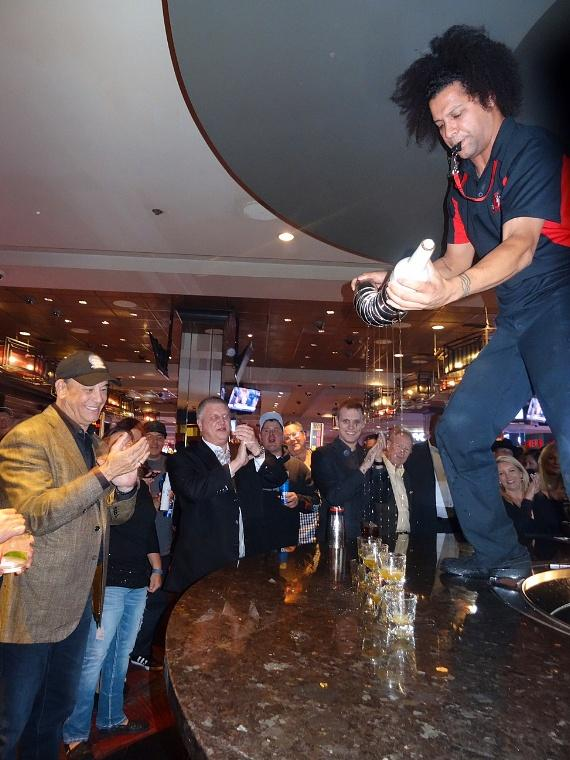 Jon Taffer is entertained by a flair bartender at the LONGBAR inside the D Las Vegas