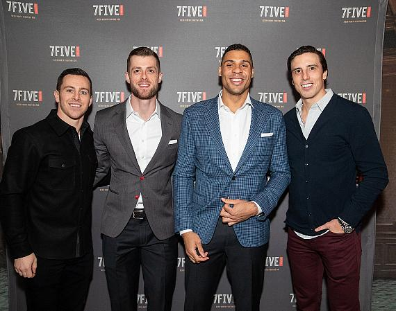 Jonathan Marchessault, Adam Coates, Ryan Reaves and Marc-Andre Fleury at the launch of 7Five Brewing Co. at Hyde Bellagio