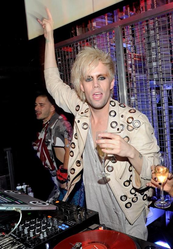 Justin Tranter in DJ Booth at Studio 54