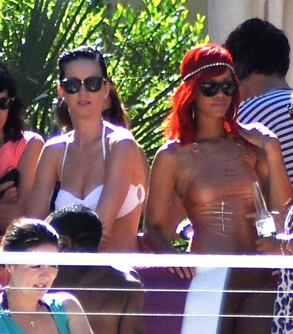 Katy Perry and Rihanna at Hard Rock Hotel in Las Vegas