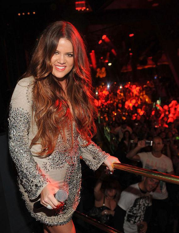 Khloé Kardashian in the DJ booth at Chateau Nightclub & Gardens