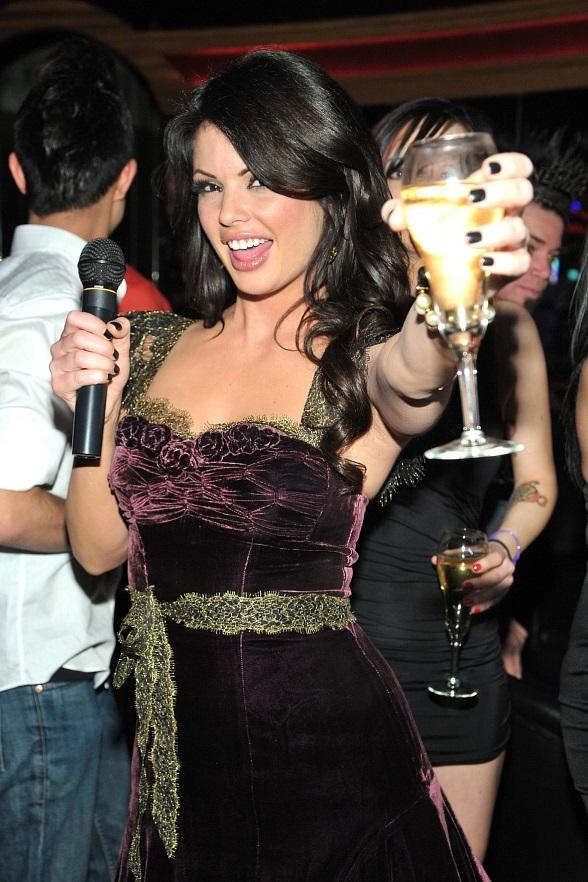 Laura Croft toasts to the New Year as she counts down the final moments of 2011 at Crazy Horse III