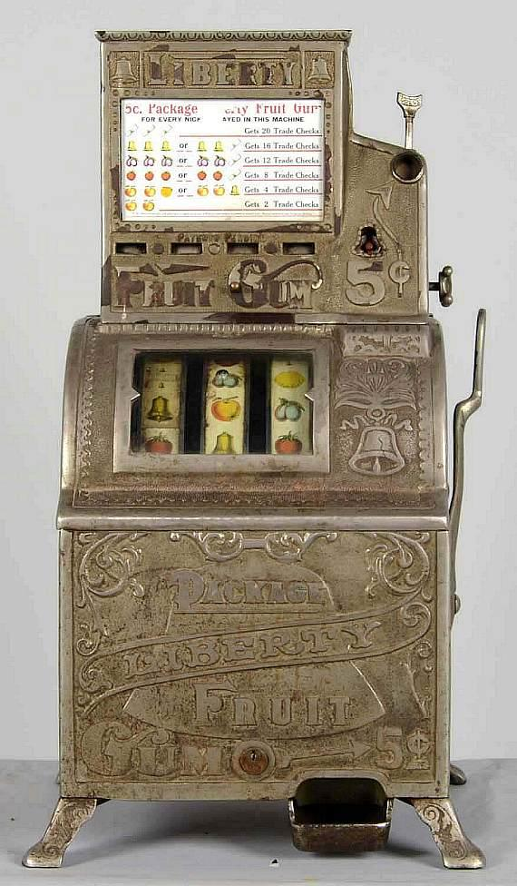 Lot #903, a circa 1905-1910 5¢ Caille Liberty package gum slot machine, believed to be the only known surviving example, made $126,000
