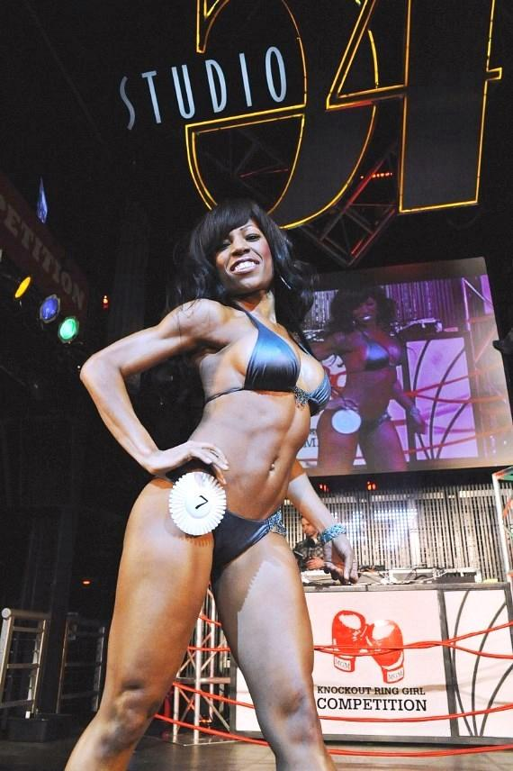 Miss Knockout contestant on stage at Studio 54