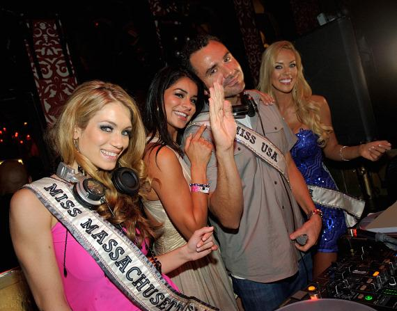 Miss Massachusetts Alida D'Angona, Miss USA 2011 Rima Fakih, DJ Jason Lema and Miss Nevada Sarah Chapman at TAO