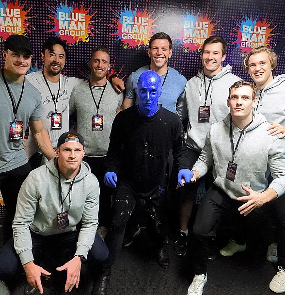 Nate Hirayama and Canadian National Rugby Team Attend Blue Man Group Las Vegas