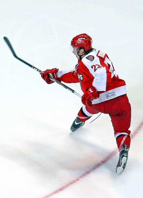 Wranglers' forward Chad Nehring scored his 19th goal of the season in Wednesday's 3-2 shootout win over the Ontario Reign