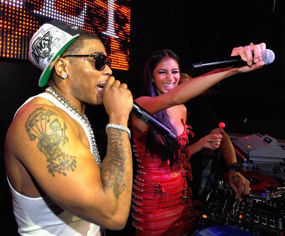 Nelly and Nicole Scherzinger sing together at Chateau Nightclub & Gardens