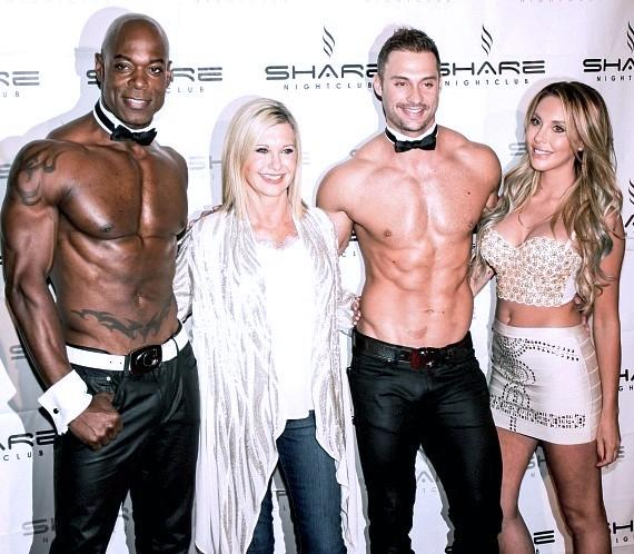 Olivia Newton-John and daughter Chloe Lattanzi with James Davis and Staceyy Robinson from Chippendales