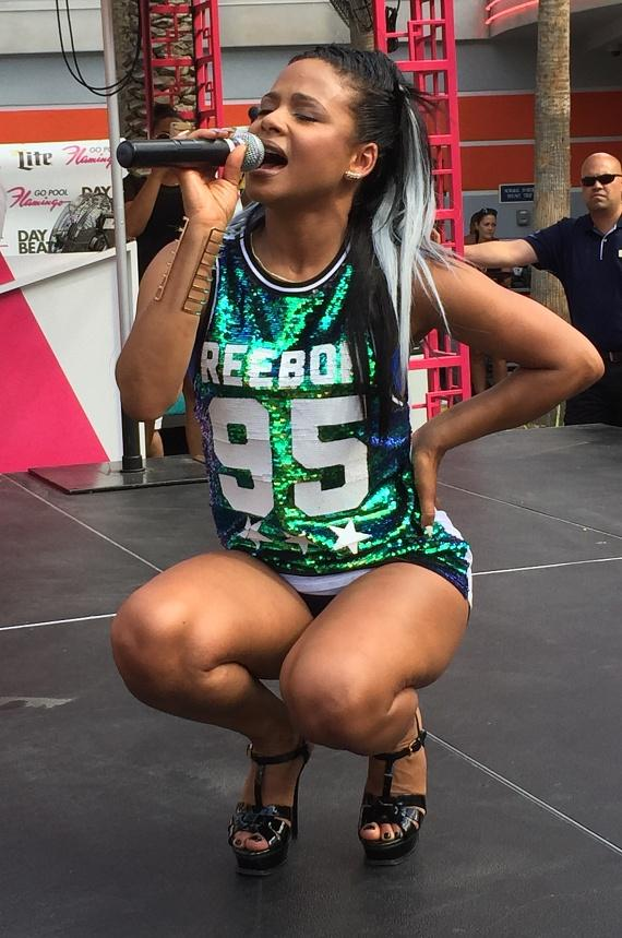 Singer and actress Christina Milian performs at the GO Pool at Flamingo Las Vegas on Saturday, June 11