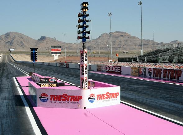 Pink starting line NHRA The Strip at LVMS