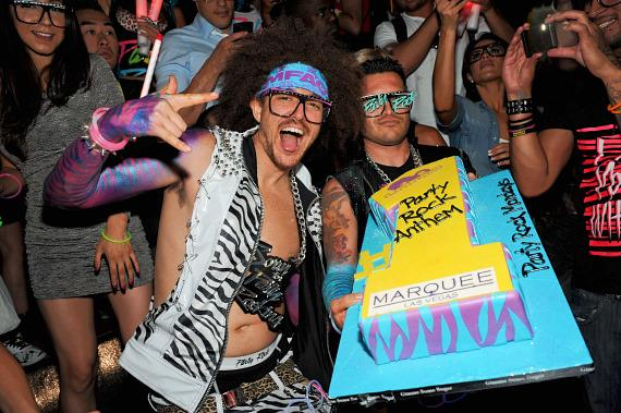 Redfoo of LMFAO with cake in Marquee Nightclub