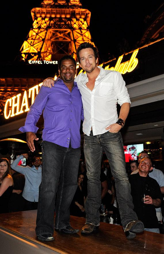 Alfonso Ribeiro and Sean Flanery celebrate a bachelor party at Chateau Nightclub & Gardens