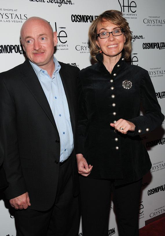 """Mark Kelly and former Congresswoman Gabrielle """"Gabby"""" Giffords on red carpet at SHe"""