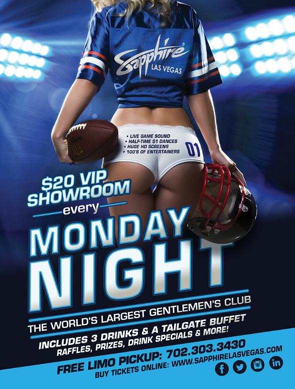 Sapphire hosts New York Giants vs. Philadelphia Eagles Monday Night Football with $1 Halftime Dances Oct. 19