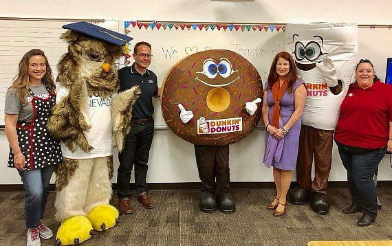Sage The Owl, WGU Chancellor Spencer Steward With Dunkin' Mascots for Donut Giveaway and Teacher Appreciation Week