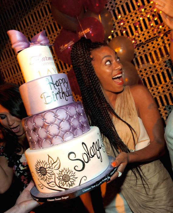 Solange Knowles with birthday cake at LAVO
